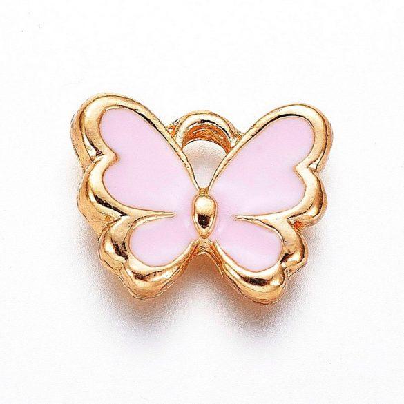 Pillangó, rózsaszín-arany, kb. 10x12 mm (2 db)