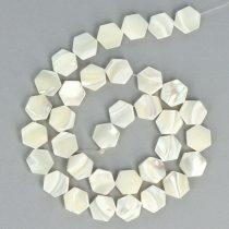 Gyöngyház alapanyagszál, hexagon, 10 mm, kb. 40 cm