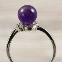 Ásvány gyűrű (1), sima, ametiszt, kb. 8 mm