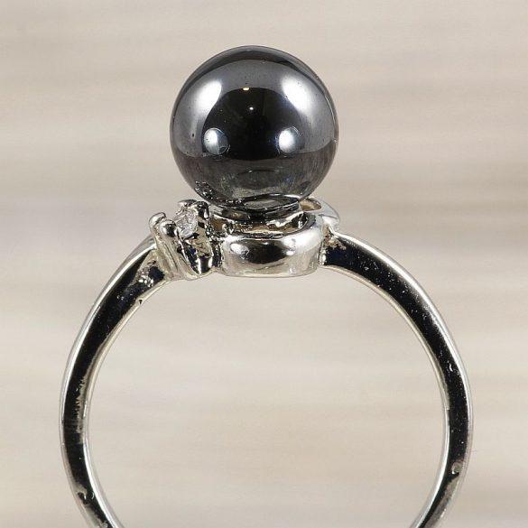 Ásvány gyűrű (1), sima, hematit, kb. 8 mm