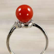 Ásvány gyűrű (1), sima, karneol, kb. 8 mm