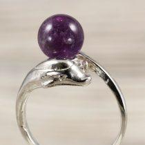 Ásvány gyűrű (2), delfines, ametiszt, kb. 8 mm