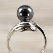 Ásvány gyűrű (2), delfines, hematit, kb. 8 mm