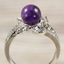 Ásvány gyűrű (3), leveles, ametiszt, kb. 8 mm
