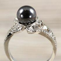 Ásvány gyűrű (3), leveles, hematit, kb. 8 mm