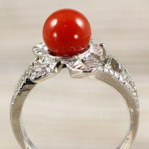 Ásvány gyűrű (3), leveles, karneol, kb. 8 mm