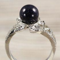 Ásvány gyűrű (3), leveles, angyalkő, kék, kb. 8 mm