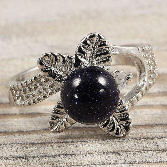 Ásvány gyűrű (3), leveles, aranykő, kék, kb. 8 mm