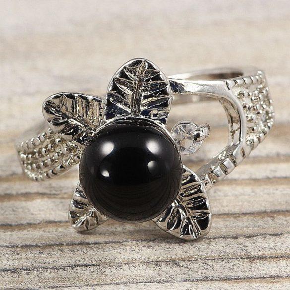 Ásvány gyűrű (3), leveles, ónix, kb. 8 mm