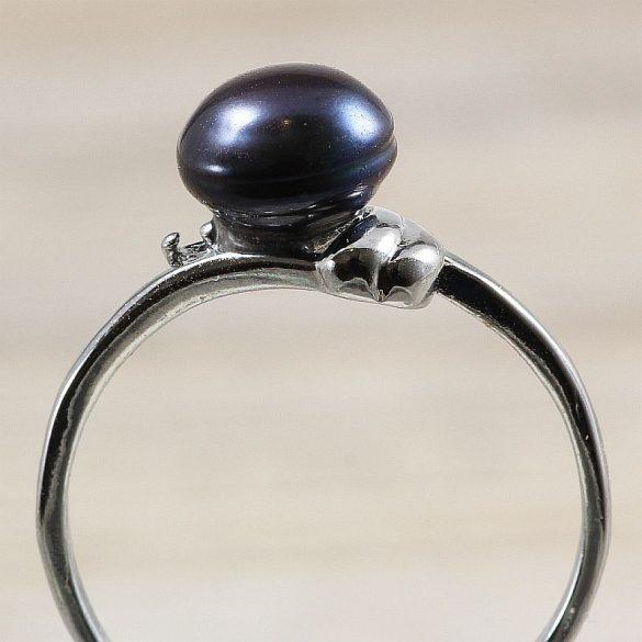 Tenyésztett gyöngyös gyűrű-1, fekete