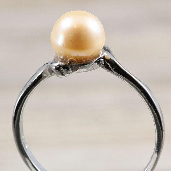 Tenyésztett gyöngyös gyűrű-1, rózsaszín