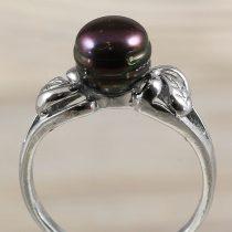 Tenyésztett gyöngyös gyűrű (2), fekete