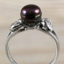 Tenyésztett gyöngyös gyűrű-2, fekete