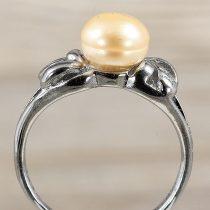 Tenyésztett gyöngyös gyűrű-2, rózsaszín