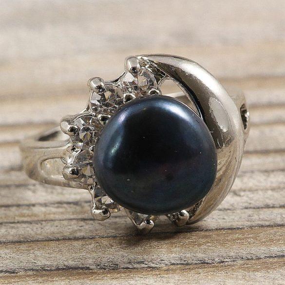 Tenyésztett gyöngyös gyűrű (3), holdas minta, fekete