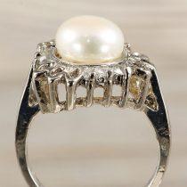 Tenyésztett gyöngyös gyűrű-3, köves, fehér