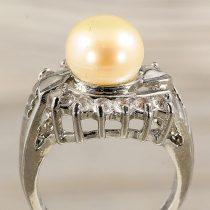 Tenyésztett gyöngyös gyűrű-3, leveles minta, rózsaszín