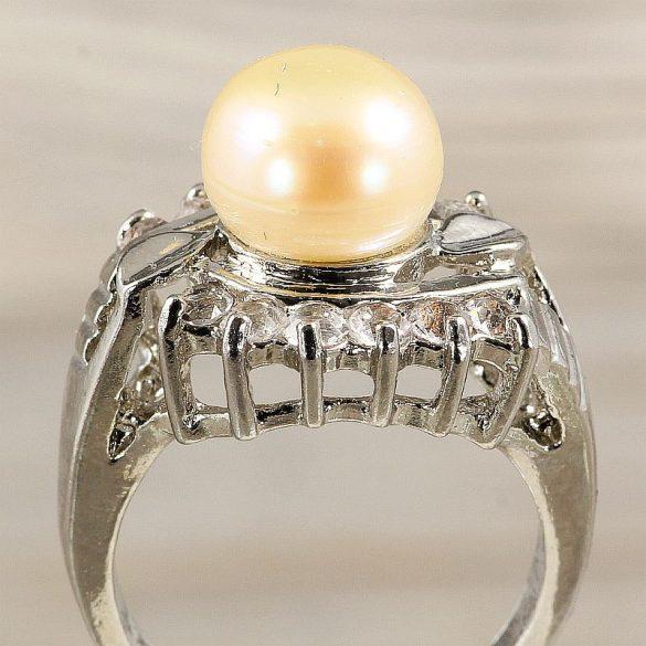 Tenyésztett gyöngyös gyűrű (3), leveles minta, rózsaszín
