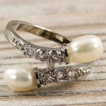 Tenyésztett gyöngyös gyűrű (4), 2 gyöngyös, fehér