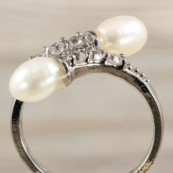 Tenyésztett gyöngyös gyűrű-4, 2 gyöngyös, fehér