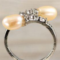 Tenyésztett gyöngyös gyűrű (4), 2 gyöngyös, rózsaszín
