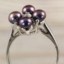 Tenyésztett gyöngyös gyűrű (4), virág, fekete