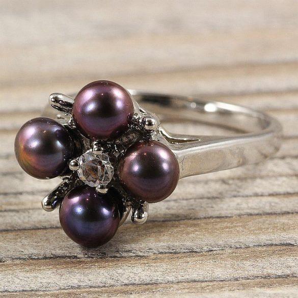 Tenyésztett gyöngyös gyűrű-4, virág, fekete