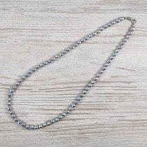 Hematit, fazettált golyós, ezüst, 6 mm, 45 cm-es nyaklánc
