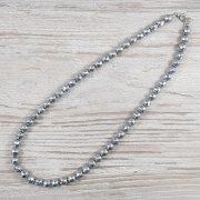 Hematit, fazettált golyós, ezüst, 8 mm, 45 cm-es nyaklánc