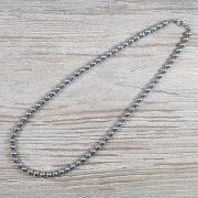 Hematit, golyós, ezüst, 6 mm, 45 cm-es nyaklánc