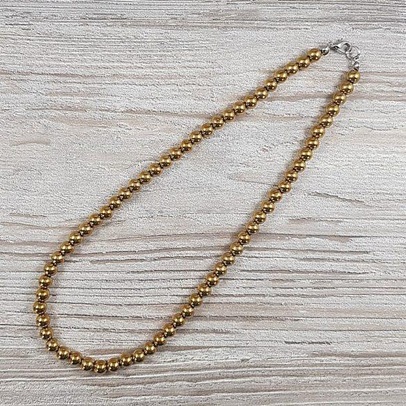 Hematit, golyós, arany, 6 mm, 45 cm-es nyaklánc