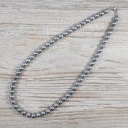 Hematit, golyós, ezüst, 8 mm, 45 cm-es nyaklánc