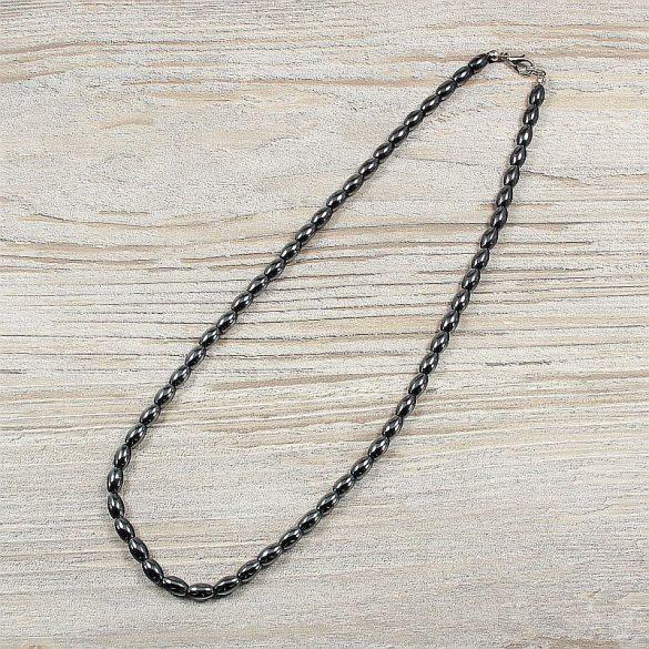 Hematit, rizsszem, 5x8 mm, 45 cm-es nyaklánc