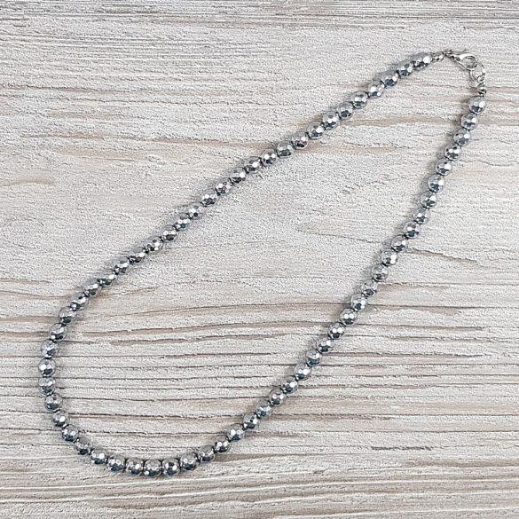 Hematit, fazettált golyós, ezüst, 6 mm, 40 cm-es nyaklánc