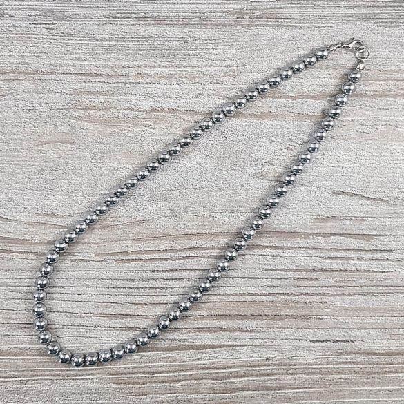 Hematit, golyós, ezüst, 6 mm, 40 cm-es nyaklánc