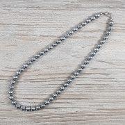 Hematit, golyós, ezüst, 8 mm, 40 cm-es nyaklánc