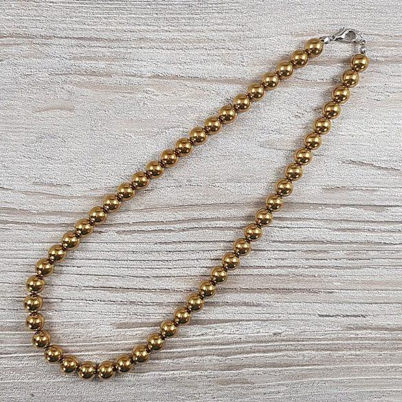 Hematit, golyós, arany, 8 mm, 40 cm-es nyaklánc