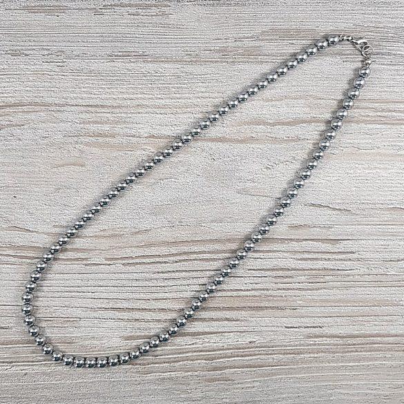 Hematit, golyós, ezüst, 6 mm, 50 cm-es nyaklánc