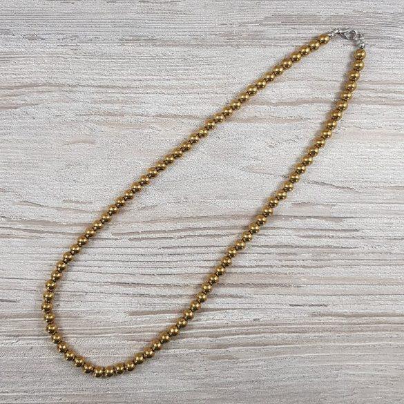 Hematit, golyós, arany, 6 mm, 50 cm-es nyaklánc