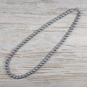 Hematit, golyós, ezüst, 8 mm, 50 cm-es nyaklánc