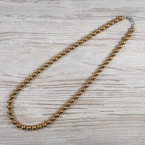 Hematit, golyós, arany, 8 mm, 50 cm-es nyaklánc