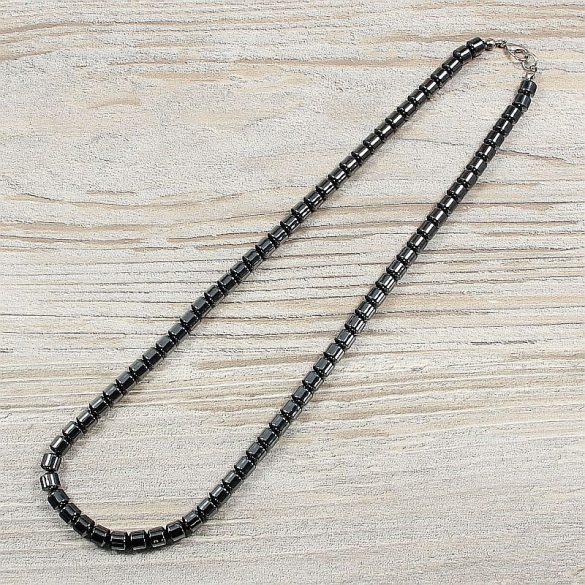Hematit, hengeres, 6 mm, 50 cm-es nyaklánc