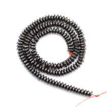 Hematit alapanyagszál, button, 6 mm, kb. 40 cm