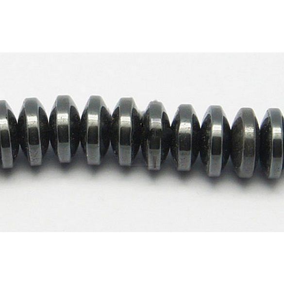 Hematit alapanyagszál, button, 8 mm, kb. 40 cm