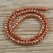 Hematit alapanyagszál, fazettált button, rosegold, 4x6 mm, kb. 40 cm