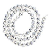 Hematit alapanyagszál, fazettált golyós, ezüst, 6 mm, kb. 37 cm