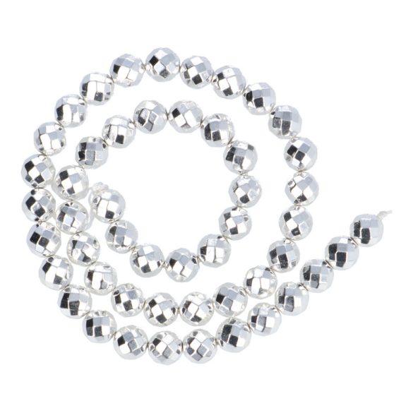 Hematit alapanyagszál, fazettált golyós, ezüst, 8 mm, kb. 40 cm