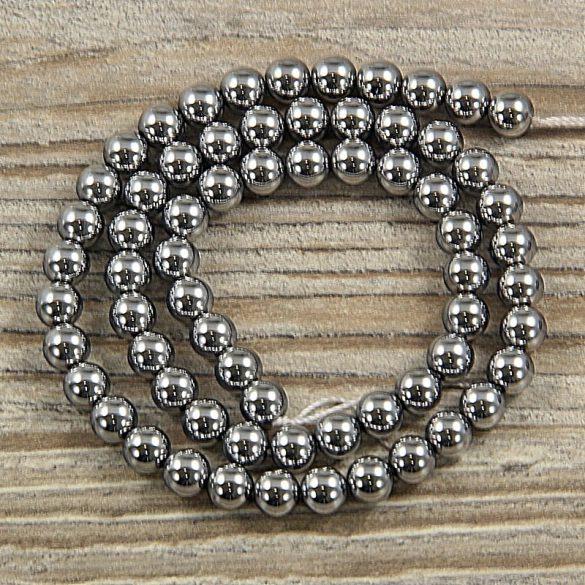 Hematit alapanyagszál, golyós, ezüst, 6 mm, kb. 40 cm