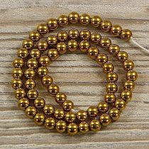 Hematit alapanyagszál, golyós, arany, 6 mm, kb. 40 cm