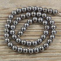 Hematit alapanyagszál, golyós, ezüst, 8 mm, kb. 40 cm